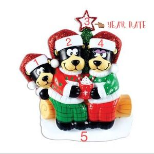 Black Bear Family of 4 Christmas Ornaments